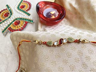 Rakhi for Brother Gift for Raksha Bandhan Handmade Silk Rakhee Rakshabandhan Thread Bracelet with Resin & Glass Stones in Kundan Design