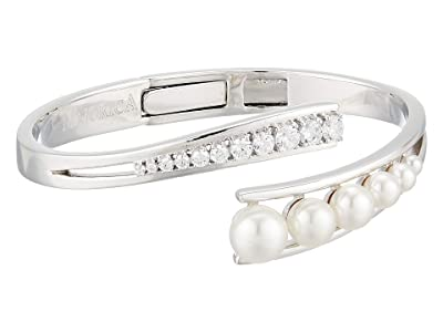 Majorica Galatea White Pearls CZ Steel Bangle (White) Bracelet