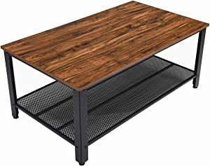 """Rustic Coffee Table with Storage Shelf,42"""" Rectangle Sofa Tea Table for Living Room,Industrial Style Furniture with Strong Metal Frame for Home Office,Brown"""