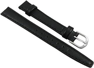 14mm Cuir de veau bracelet de montre en noir avec boucle en argent