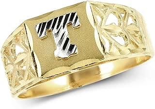 lovebling 10KイエローゴールドダイヤモンドカットレディースAlphabet Initialリング、ブロックレタリング( T )
