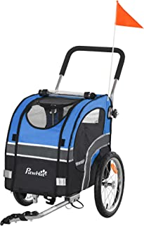 Aosom Dog Bike Trailer 2-in-1 Pet Stroller Cart Bicycle Wagon Cargo Carrier Attachment for Travel with 360° Swivel Wheel R...