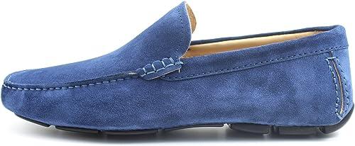 GIORGIO REA REA REA Chaussures Homme Car chaussures bleutte Mocassins Male Main Italiennes, Cuir, élégant, Classique, Oxford Classic chaussures 763