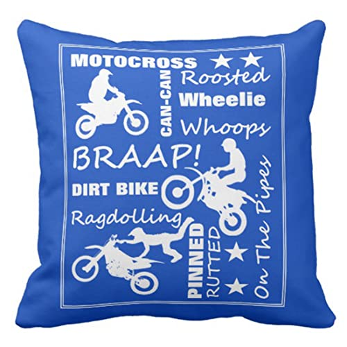 DIRT BIKE NAME PILLOW Square Cover Baby Infant Motocross Motorcycle Nursery Room Home Décor