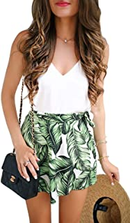 Women Summer 2 Pieces Outfits Palm Leaf Print Set V Neck Top Shirt and Shorts Set