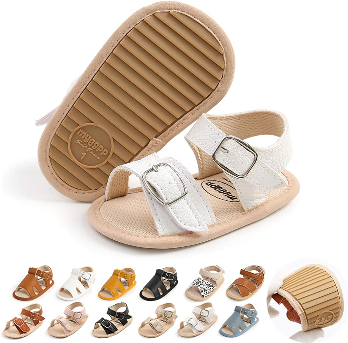 Premium Baby Boys Girls Sandals, Soft Non-Slip Rubber Sole Summer Infant Toddler Baby Walking Shoes, Flat Shoes First Walkers