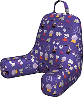 Lunarable Wizard Husband Pillow, Continuous Pattern with Magic Tricks Themed Cartoon Hat Bunny Wand, Waist Rest Cushion with Visco Foam and Back Pocket, Small, Blue Violet Multicolor