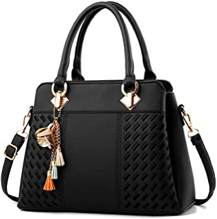 Womens Handbags and Purses Fashion Top Handle Satchel Tote PU Leather Shoulder  Bags 1ca10c1228be3