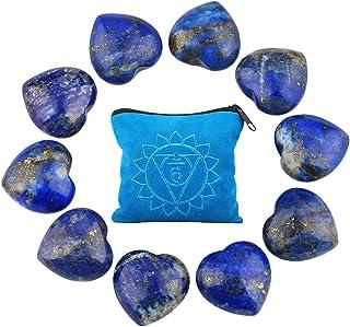 rockcloud 10 PCS Healing Crystal Lapis Lazuli Heart Love Carved Worry Stones with Chakra Bag Meditation Reiki Balancing