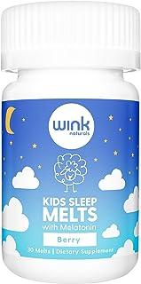 Wink Naturals Kids Sleep Melts, Sleep Aid Supplement with Melatonin (1mg Per Melt) for Fast, Deep Sleep, Natural, Drug-Fre...
