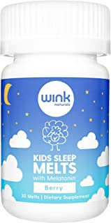 Wink Naturals Kids Sleep Melts, Sleep Aid Supplement with Melatonin (1mg Per Melt) for Fast, Deep Sleep, Natural, Drug-Free, Non-Habit Forming Formula (Yummy Berry Flavor, 30 Chewable Melts)
