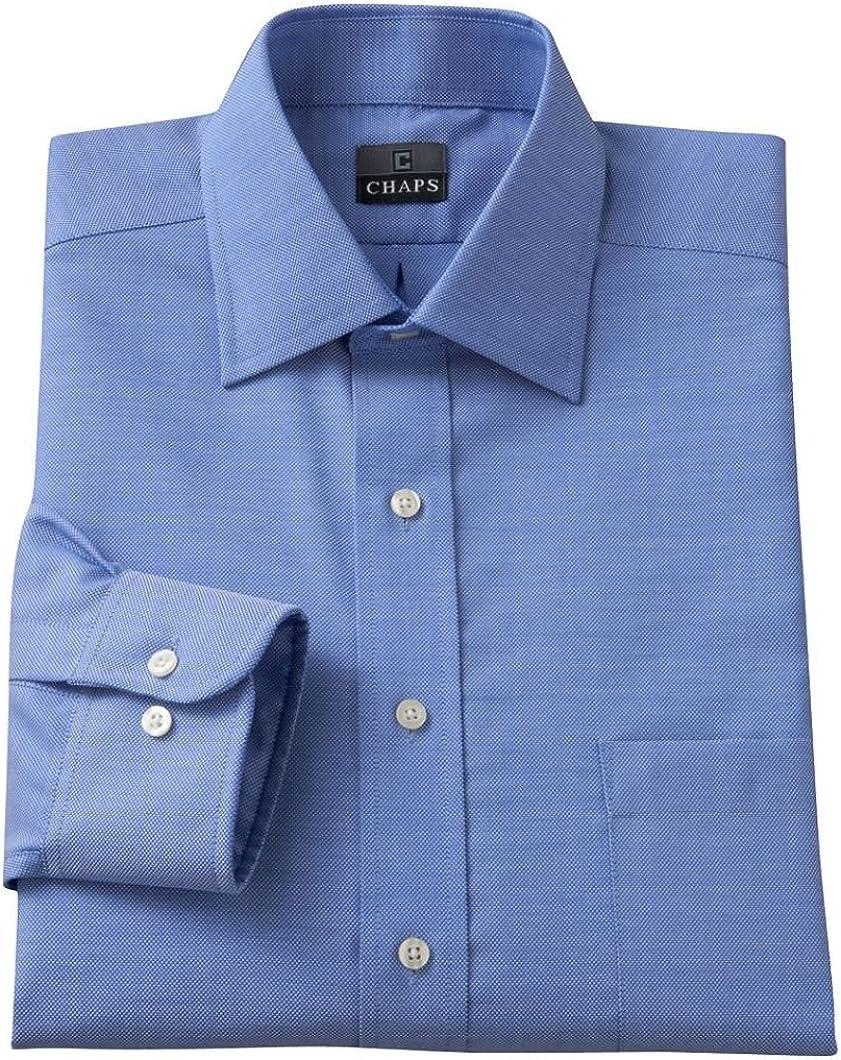 Chaps Mens Classic Fit 100% Cotton Dress Shirt Blue Spread Collar