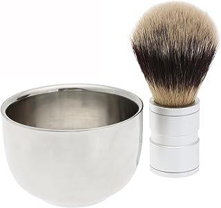 2PC/セット メンズシェービング用 シェービングブラシ +ステンレス鋼のボウルマグカップ ギフト 理容 洗顔 髭剃り
