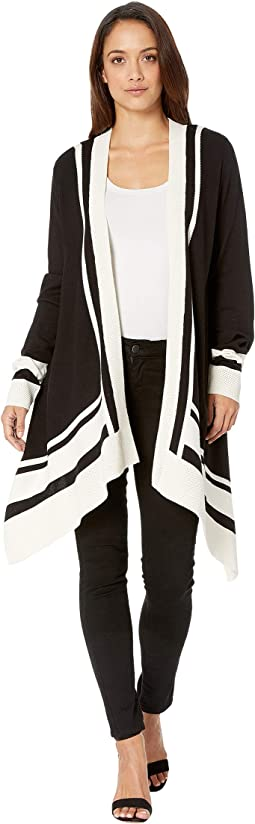 Long Sleeve Color Blocked Open Cardigan with Pointelle Trim