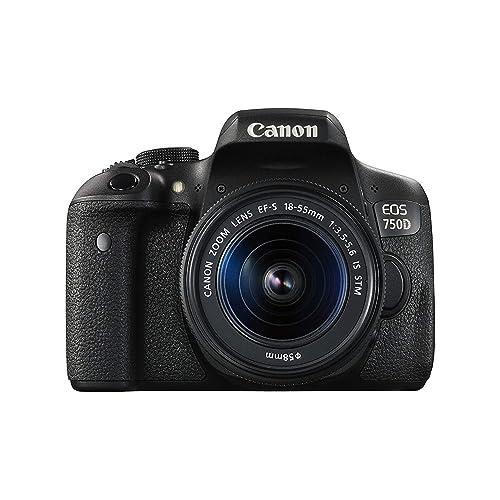 Canon EOS 750D 24.2MP Digital SLR Camera (Black) + 18-55 is STM Lens + Memory Card + Carry Bag