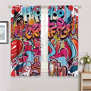 zojihouse Graphic Decor Hip Hop Street Culture Harlem New York Wall Graffiti Spray Artwork Image Blackout Curtain Panels Multicolor Thermal Insulated Draperies W72xL63