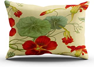 KAQIU Home Decoration Pillowcase Green Red Nasturtiums on Gold Outdoor Custom Lumbar Size 12x24 Inch Throw Pillow Cover Hi...