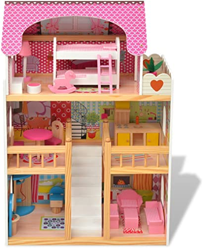 Festnight 3-Stückiges Puppenhaus Holzpuppenhaus Puppenstube Kinder mädchen Spielzeug 60 x 30 x 90cm   Geschenk