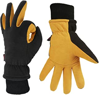 Winter Gloves -30 ℉ Cold Proof Thermal Ski Glove - Deerskin Suede Leather and Warm Polar Fleece with Insulated Cotton - Windproof Water-Resistant Hands Warm in Cold Weather for Women and Men