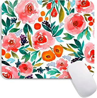 Hokafenle Square Mouse Pad Flower, Watercolor Rose Floral Premium-Textured Custom Mouse Mat Thick,Washable Mousepads Lycra...