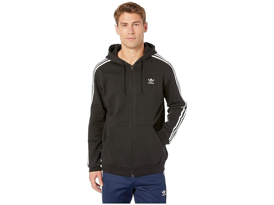 Image of adidas Originals 3-Stripes Full Zip Hoodie (Black) Men's Sweatshirt