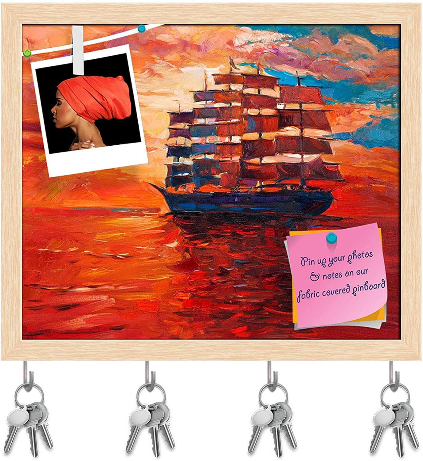 Artzfolio Artwork of Sailing Frigate Or Ship & Sea Key Holder Hooks   Notice Pin Board   Natural Brown Frame 19.1 X 16Inch