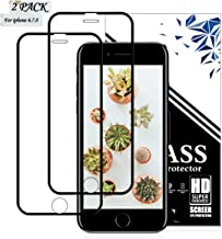 EESHELL iPhone 8,7,6S,6 Screen Protector, [2 Pack] 9H Hardness Premium Full Coverage Tempered Glass, Case Friendly, HD Clarity, Anti- Scratch, Anti-Bubble Film for iPhone 8,7,6S,6