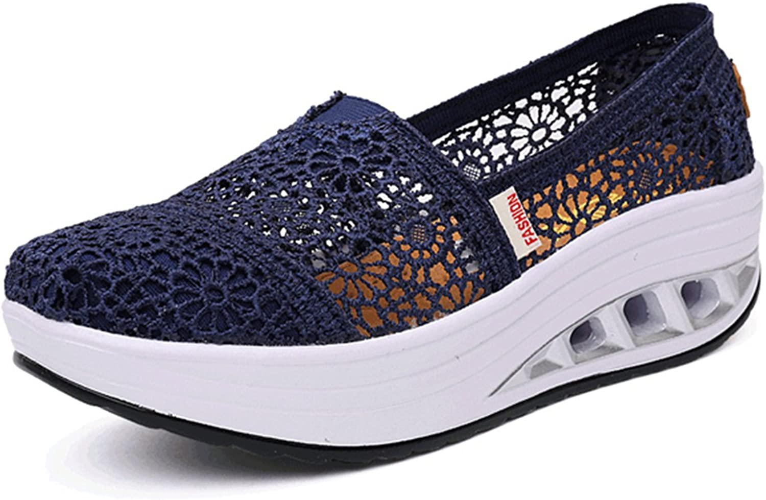 Gracosy Slip-on Platform shoes, Women Mesh Sneakers Wedge Lace Loafers Soft Sports Walking shoes