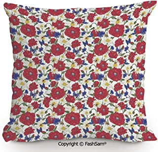 FashSam Home Super Soft Throw Pillow Blooming Red Poppies Chamomile Ladybird and Daisies Bumblebee Bees and Butterflies Decorative for Sofa Couch or Bed(20