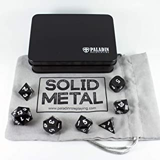 Paladin Roleplaying Black Metal Dice - Full Polyhedral Set in Presentation Case