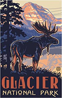 Glacier National Park Moose Travel Art Print Poster by Paul A. Lanquist (12