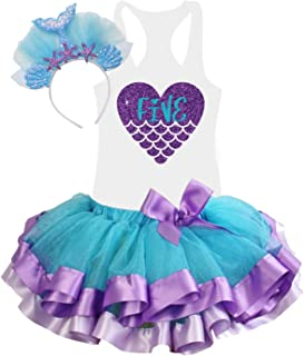 5th Birthday Tutu Outfits for Toddlers Girls Mermaid Theme Glitter Handmade