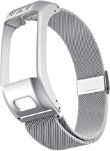 ANCOOL Compatible with Garmin Vivosmart HR+ Bands,Accessory Stainless Steel Replacement Metal Loop BraceletWristband for Garmin Vivosmart HR+(NOT for Vivosmart HR) -Large,Silver