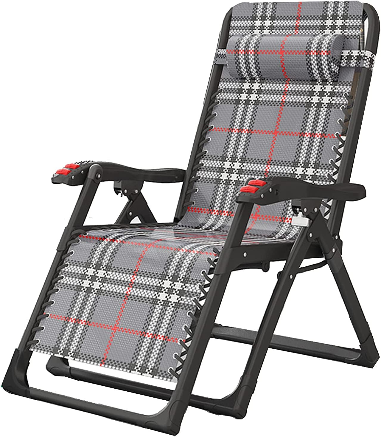 WYDM Tumbona Plegable portátil, Silla de salón para balcón Tumbona de jardín, con reposacabezas extraíble y Rejilla de Tubo Grueso, sillón de Ocio con Respaldo Ajustable, Carga 200 kg (Color: B)