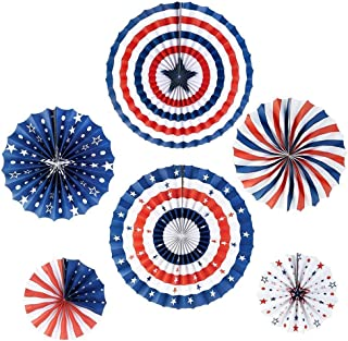 iShyan 4th of July Decorations Paper Fan for Patriotic Decoration Independence Day Party Supplies Red White Blue Hanging Paper Fans, 6pcs