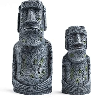 Niteangel Ancient Easter Island Stone Head Aquarium Ornament, Fish Tank Decoration Accessories