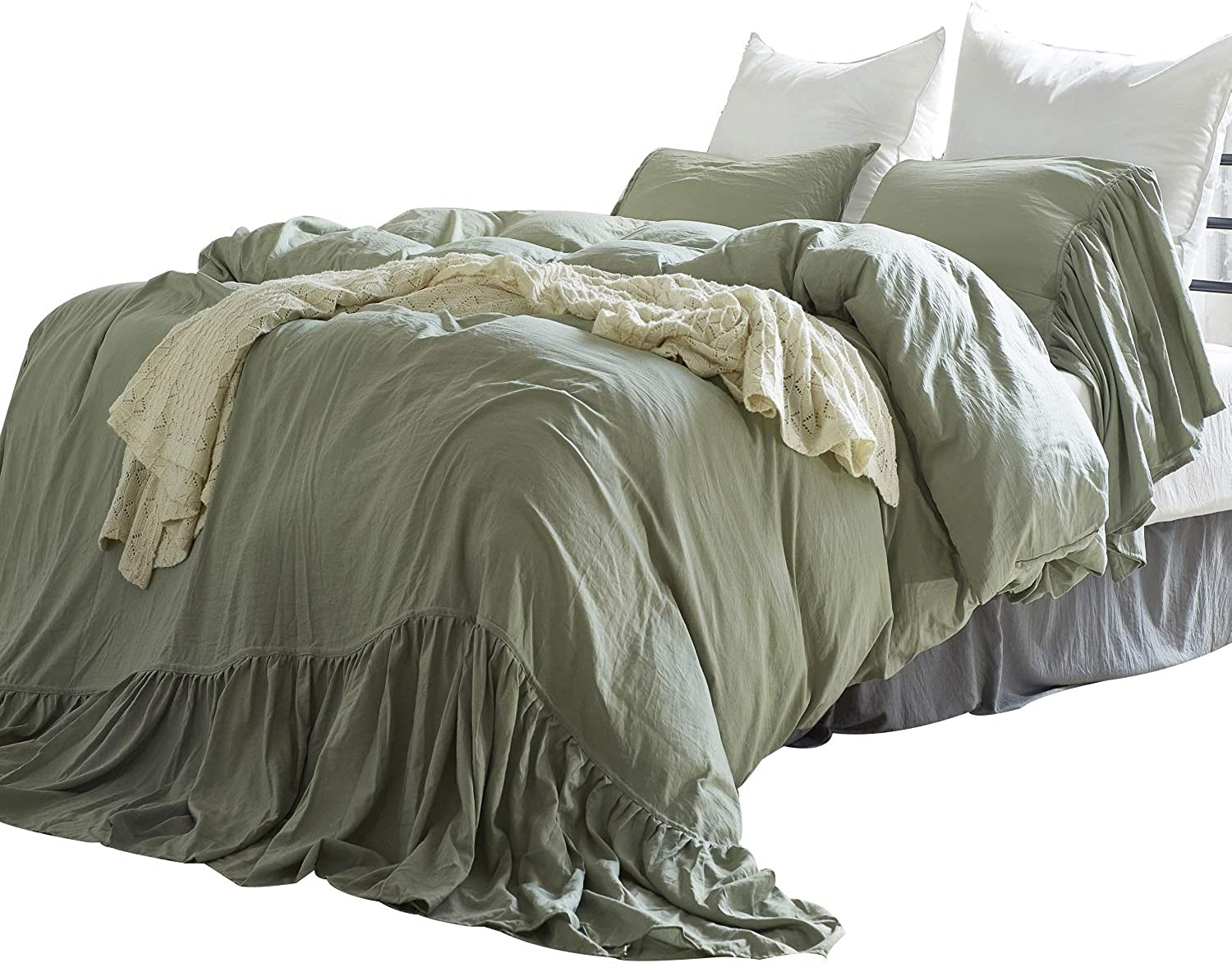 YOUSA 100% Natural Washed Cotton-Like Microfiber Duvet Cover Set Solid Green Rural Princess Lace Bedding Zipper Soft Durable (Twin,Green)
