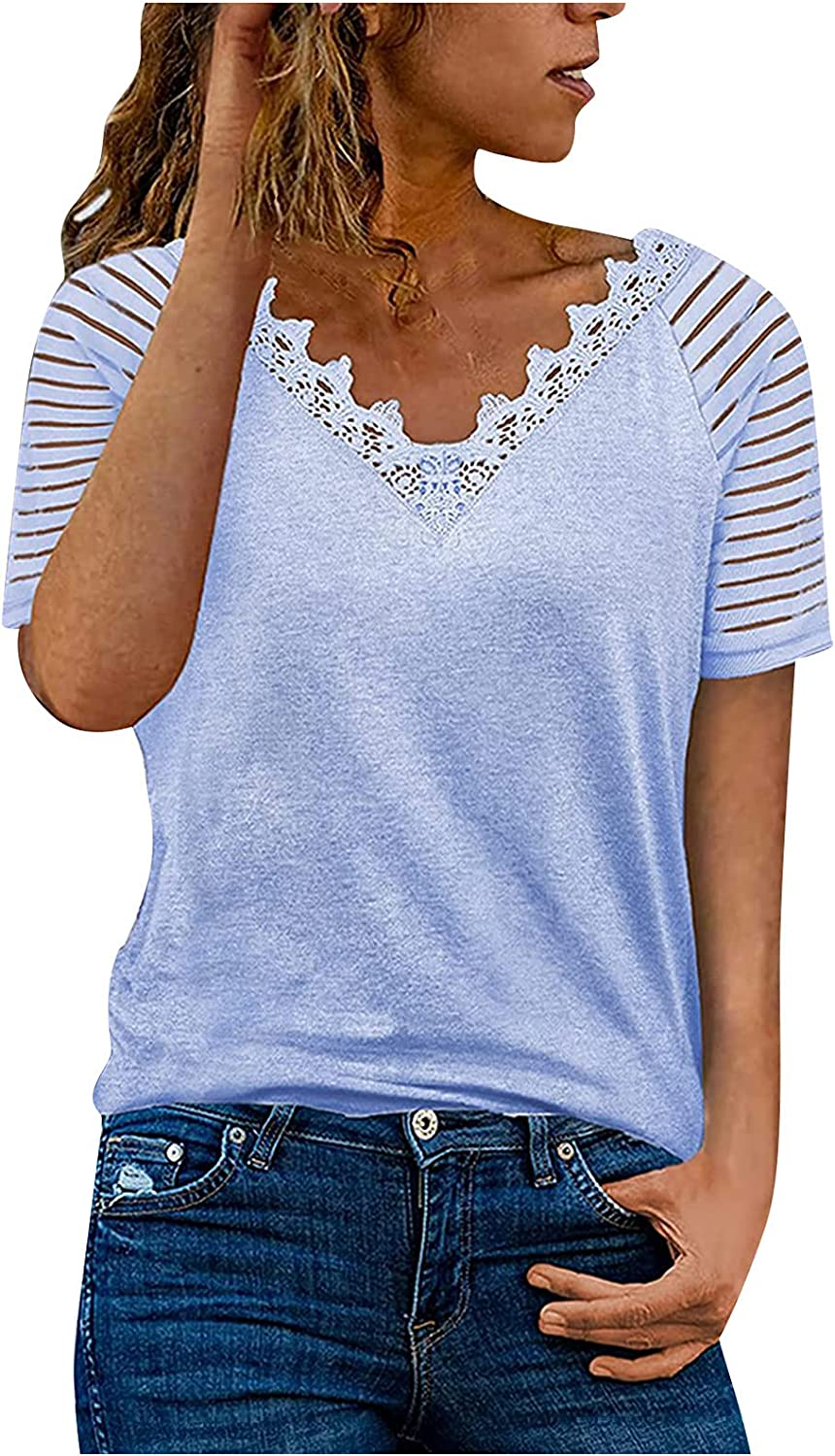 Shirts for Women, Womens Summer Casual Lace V Neck Cut Out Short Sleeve Solid Color Loose Blouse Tops T-Shirt