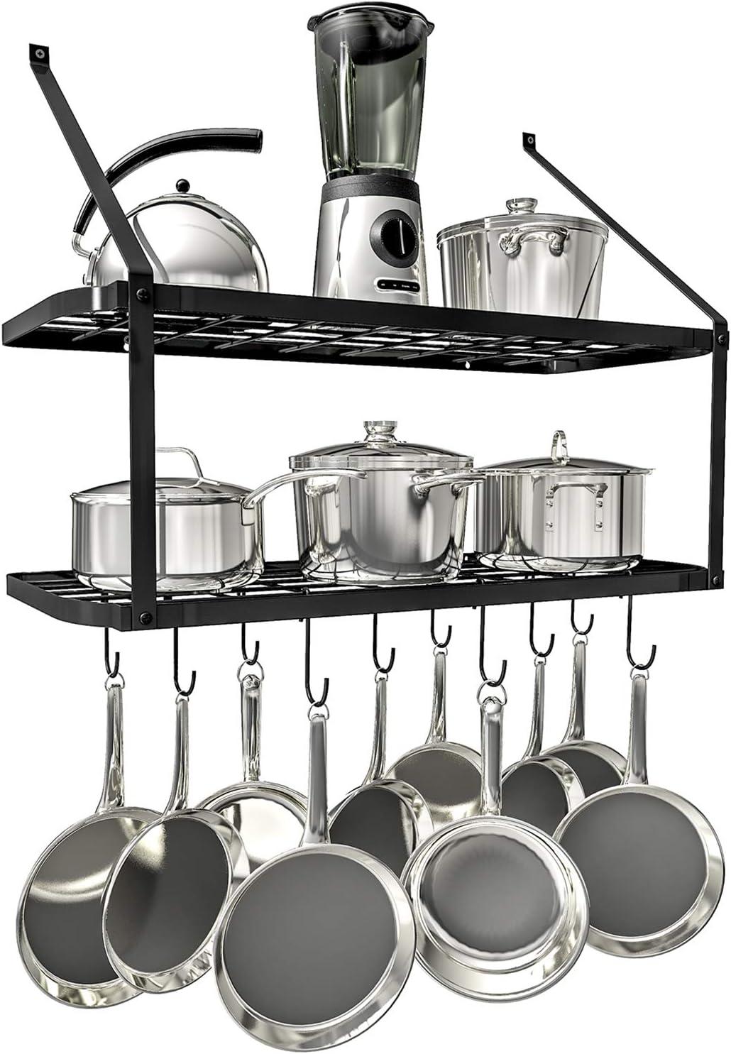 Vdomus shelf pot rack wall mounted 2 bla tire racks pan hanging Discount mail order Import