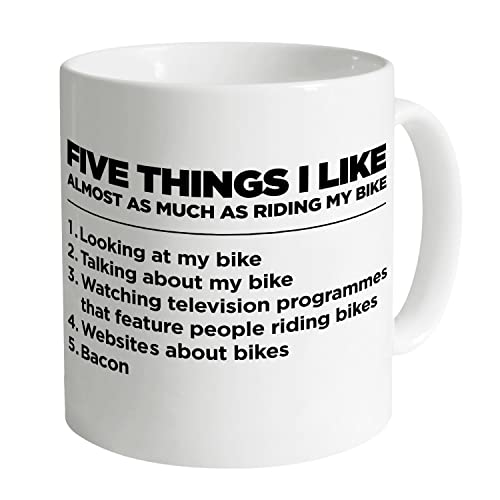 Five Things I Like - Bike 11oz Quality Mug, White