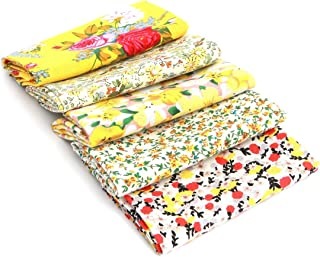 RayLineDo 5X Different Pattern Yellow 100% Cotton Poplin Fabric Fat Quarter Bundle 46 x 56cm (Appox 18