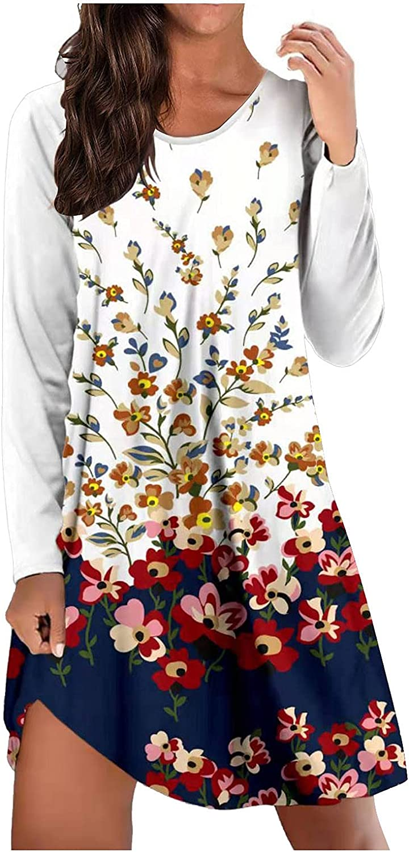 Sun Dresses Women Summer Casual Floral Graffiti Printed Sundress Long Sleeve Round Neck Hawaiian Party Vintage Maxi Dress