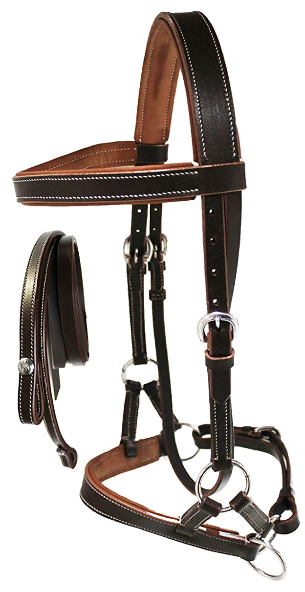 Horse Western Leather Padded BITLESS SIDEPULL Halter Bridle Combo REINS 7710