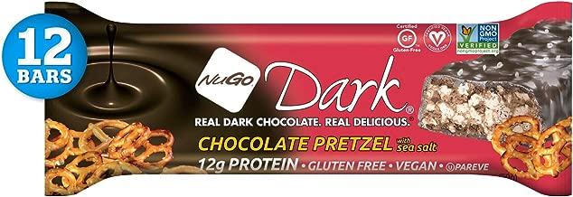 NuGo Dark Chocolate Pretzel, 12g Vegan Protein, 200 Calories, Gluten Free, 12 Count