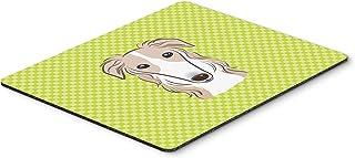 Caroline's Treasures Checkerboard Lime Green Borzoi Mouse Pad/Hot Pad/Trivet (BB1290MP)