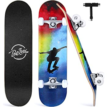 """BELEEV Skateboards for Beginners, 31""""x8"""" Complete Skateboard for Kids Teens & Adults, 7 Layer Canadian Maple Double Kick Deck Concave Cruiser Trick Skateboard with All-in-One Skate T-Tool"""