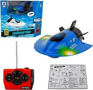 Daxoon Submarino de Control Remoto- Alta Velocidad 4 CH RC Barco Modelo Radio Control Remoto Barco Submarino Electrico Juguete Ninos Regalo Azul Azul 11 x 8 x 4 cm