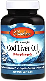 Carlson - Cod Liver Oil Minis, 280 mg Omega-3s + Vitamins A & D3, Heart Support & Cognitive Function, Vision Health, 250 M...