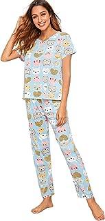 Shein Women's Pajama Set Short Sleeve Shirt and Pants Lounge Sleepwear Nightwear PJ Set With Eye Mask
