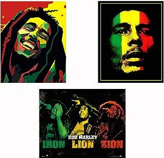 Bob Marley-Silhouettes Wall Art Set-3 Watercolor Abstract-8 x 10
